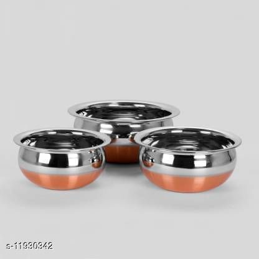 Copper Bottom Handi Pot 3 Piece Set/Steel Handi Set of 3 ( 0.5 L, 0.8 L, 1.2 L  Stainless Steel)