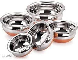 Copper bottom handi Pot Handi Set of 5 Piece Set/Cookware Chetty Combo Set Handi 2.1 L, 1.6 L, 1.1 L, 0.8 L, 0.5 L