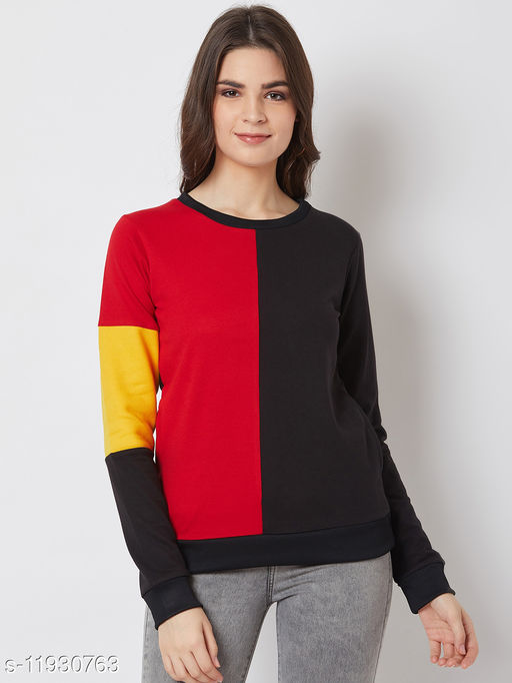 Solid Red & Black Sweatshirt