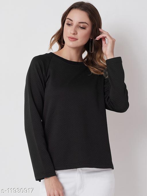 Solid Black Self Design Sweatshirt