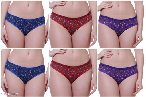 Women Bikini Multicolor Cotton Panty (Pack of 6)