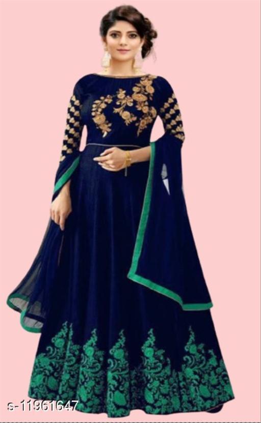 B4U Satin Blend Stitched Flared/A-line Dress(Blue)