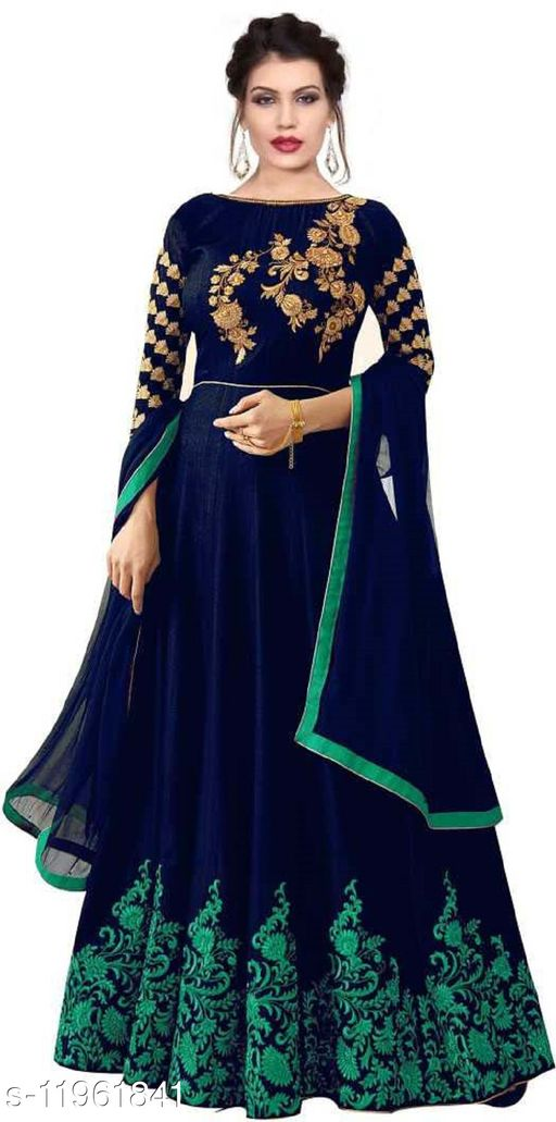 Shayona Satin Semi Stitched Anarkali Dress(Blue)