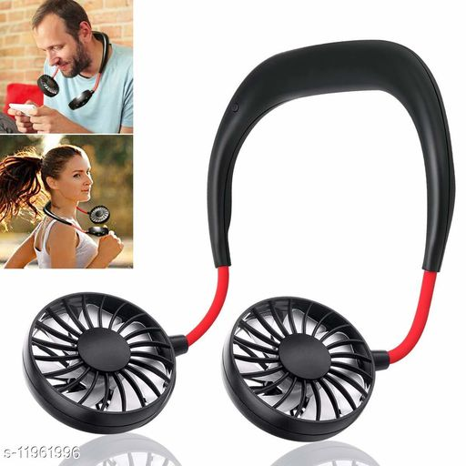 AMEEHA Hand Free Fan,Mini Personal Cooling Fan Neck-Hanging Double Fan USB Rechargeable Neckband Fan with 3 Speeds and 360 Degree Rotation Desk Fan
