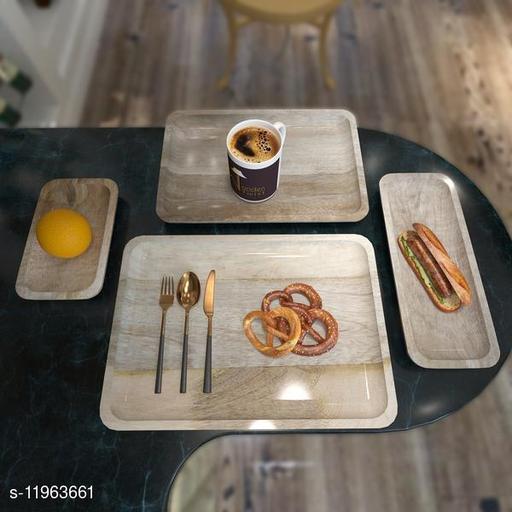 Solid Mango Wood Premium Tray/Platter ( Set of 4 )