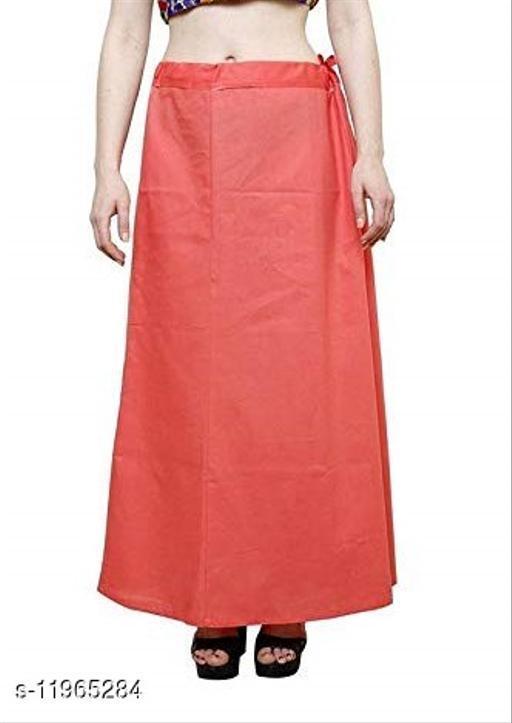Pure Cotton Saree Petticoat Peach Color Free Size