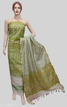 Cotton Silk Block Madhubani Printed Suit