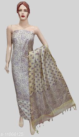 Cotton Silk Bock Floral Printed Suit