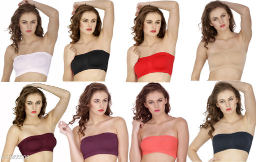 Pack of 8 Non Padded Bandeau Bra