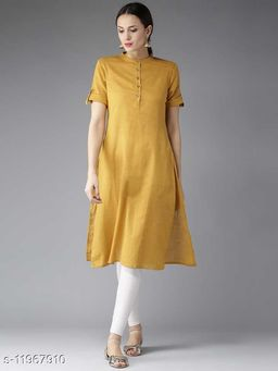 Women's Solid Cotton Linen Kurti