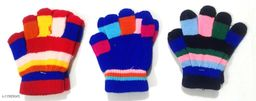 Baby Woolen Multicolor Gloves (1-4 Years - Set of 3 Pairs) Print and Color May Vary
