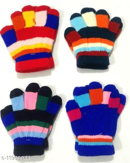 Baby Woolen Multicolor Gloves (1-4 Years - Set of 4 Pairs) Print and Color May Vary