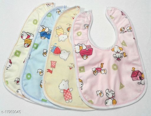 Baby Bibs Multicolor (0-3 Years – Pack of 4) Print and Color May Vary