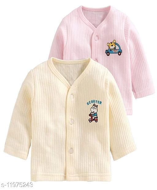 REVOLTEK Presnts Front Open Kids Winter wear Thermal Upper Full Sleeves Body Warmer top Pack of 2 (Pink & Cream)