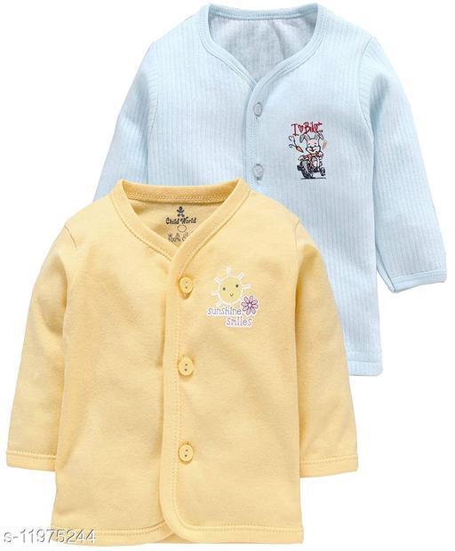 REVOLTEK Presnts Front Open Kids Winter wear Thermal Upper Full Sleeves Body Warmer top Pack of 2 (Blue & Orange)