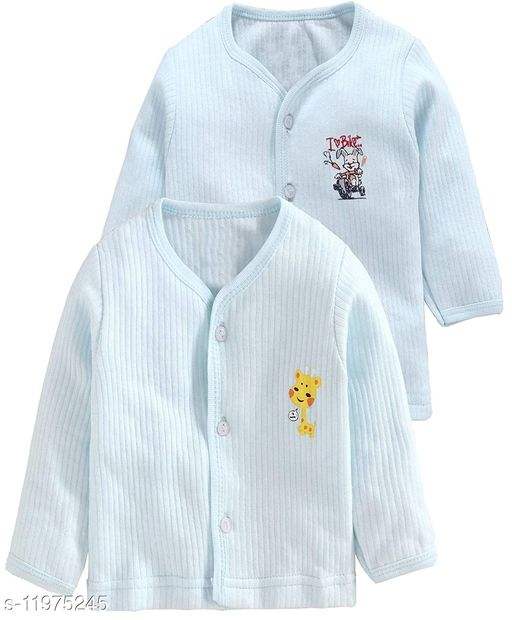 REVOLTEK Presnts Front Open Kids Winter wear Thermal Upper Full Sleeves Body Warmer top Pack of 2  (Blue & Green)