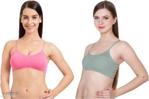 Women Sexy CottonBra Panty Set ( Color : Pink,Red,Maroon,Blue,Green,Black ) (Pack Of 6 ) Non Returnable