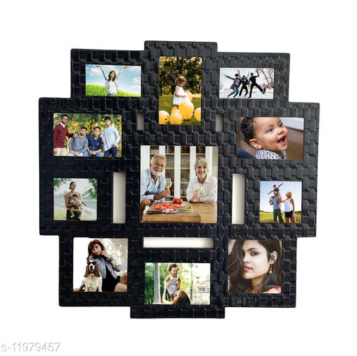 Picrazee Wooden 11 Pictures Wall Collage Photo Frame (Black Textured, 24x24 inch)