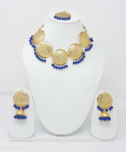 Necklaces & Chains  Blue Beads Golden Tone Choker Necklace for Women Base Metal: Alloy Plating: Gold Plated Stone Type: Artificial Beads Sizing: Adjustable Type: Necklace Sizes: Country of Origin: India Sizes Available: Free Size    Catalog Name: Shimmering Glittering Women Necklaces & Chains CatalogID_2280575 C77-SC1092 Code: 963-11980588-
