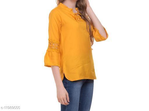 Dimpy Garments Yellow Rayon Designer Top For Women-2018Z