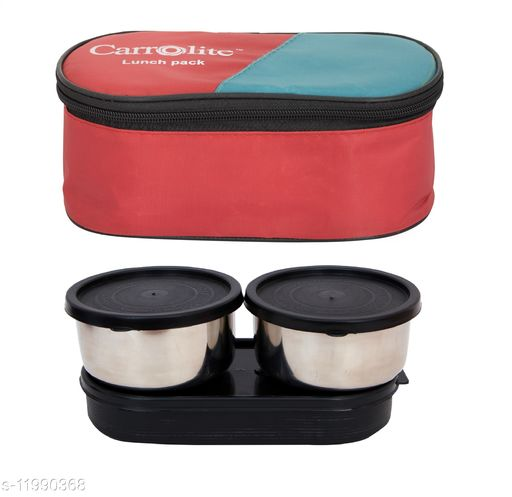 3 in 1 Red (All Black) Steel Lunchbox