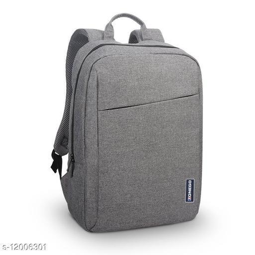 Trendy Unisex Grey Polyester Laptop Backpack