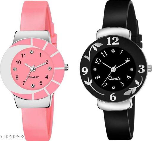 MMD Set Of 2 Attractive Pink And Black Pu Material Watches For Girls And Kids Women Watch
