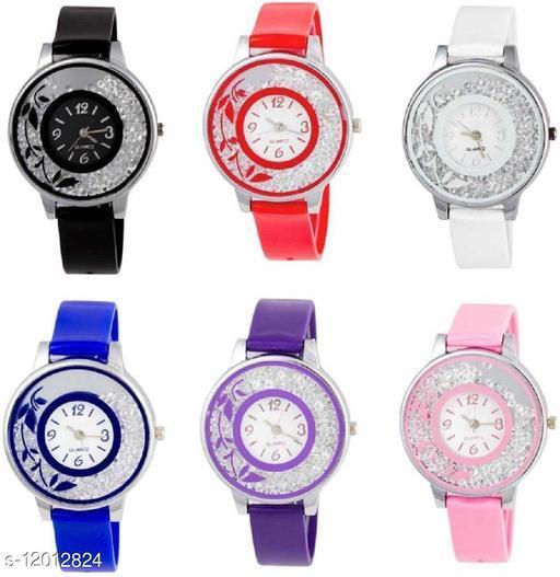 MMD SPC6M8213 Diamond Studded Attractive Stylish Women Combo Set Of Six Analog Women Watch
