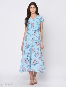 Women's Printed Blue Dress