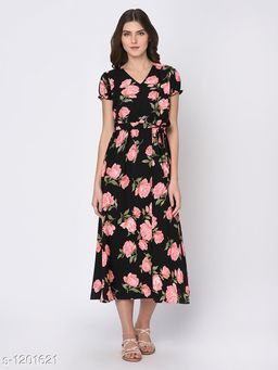 Women's Printed Black Dress