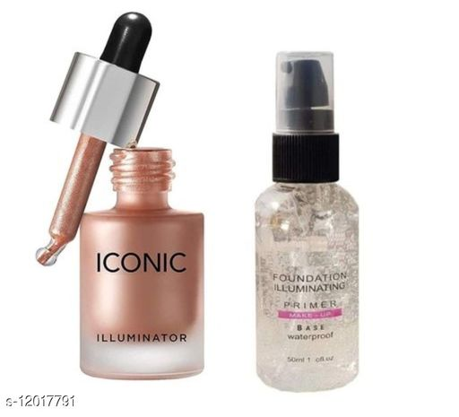 COMBO OF ICONIC LONDON Highlighter (Gold) and HB Pump Primer(pack of 2)