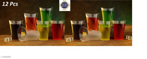Tenido 12 New Plastic Drinking Transparent Water Glass Set, ABS Poly Carbonate Plastic Unbreakable Glass Set, Pack Of 12  (250 ml, Plastic)