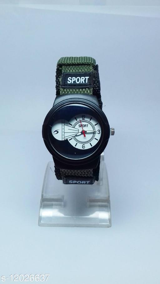 latest trendy sport watch green-black strap watch for children