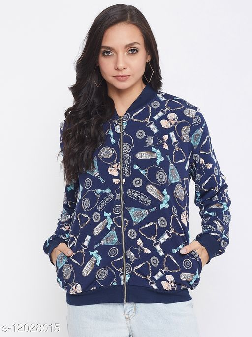 Austin Wood Women's Navy Blue Full Sleeves Printed Mandarin Collar Sweatshirt