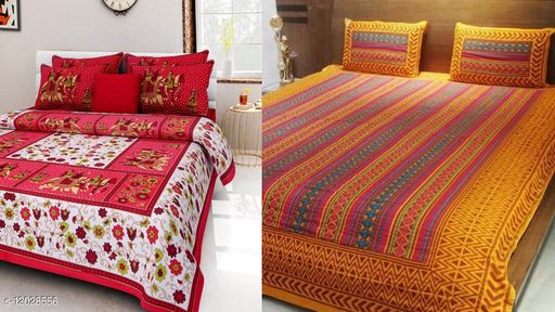 Combo Pack of Jaipuri Printed Double Bed Bedsheet ( 2 Double Bed Bedsheet with 4 Pillow Cover )