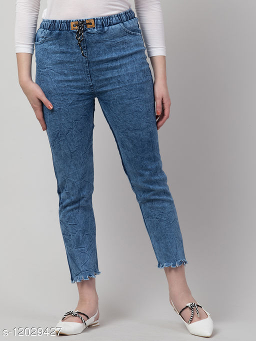 Kyla Exclusive Joggers Washed Blue Jean For Women