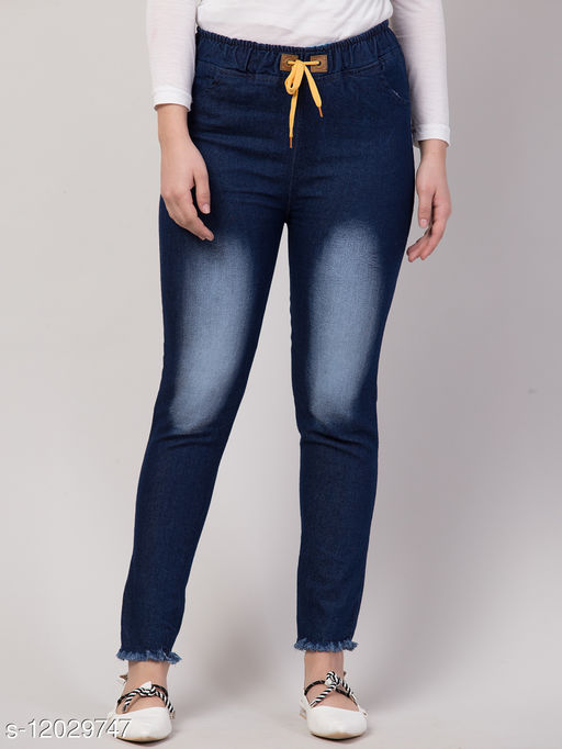 Kyla Exclusive Joggers Knee Heavy Washed Blue Jean For Women
