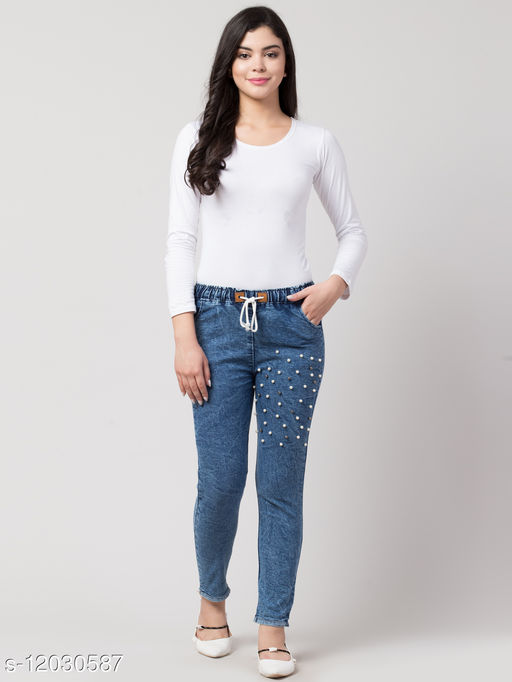 Kyla Exclusive Joggers Thigh Pearl Blue Jean For Women