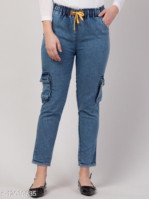 Kyla Exclusive Joggers Cargo Blue Jean For Women