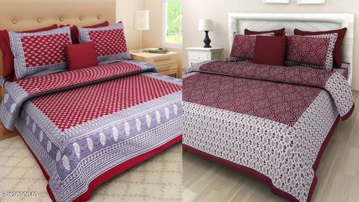 Double Bed Bedsheet Combo Pack Jaipuri printed 2 Bedsheet with 4 Pillow Cover