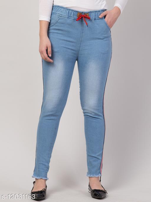Kyla Exclusive Joggers Side Striped Light Blue Jean For Women