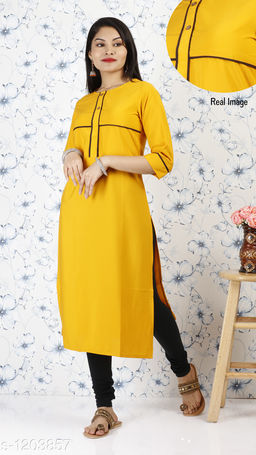 Women Polyester A-line Solid Yellow Kurti