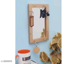 Wooden Mirror With Key Holder - Golden