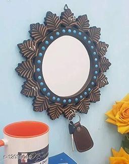 Wooden MDF Decorative Hand Carved Blue Mirror