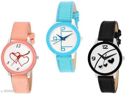 MMD New Arrival Girl And Women Leather Belt Watch Combo set of 3 Analog Watch -