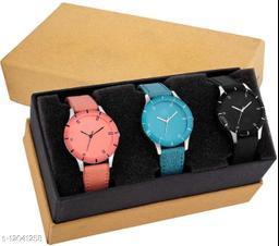 MMD Designer Multi colorful dial leather strap set of 3 Men & Women Analog Watch -