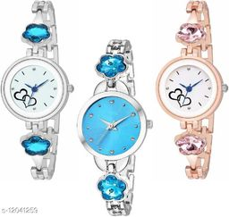 MMD Attractive Same Peace With Different Color 3 Combo Watch For Girls And Women girls and woman combo watches Analog Watch