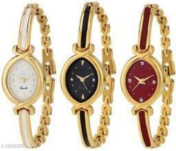 MMD New Oval Stylish Designer Gold Belt Bracelet Dial Golden Bangle 3 combo pack Watch NW-1086 Analog Watch
