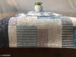 The Home Talk Velvet Printed Table Runner- Festive Season Soft Shiny Dining Room Decor- 14x72 inch (Blue Stripes)