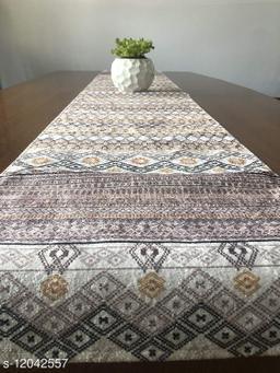 The Home Talk Velvet Printed Table Runner- Festive Season Soft Shiny Dining Room Decor- 14x72 inch (Yellow Lines)